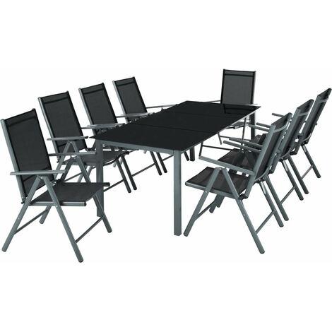 Salon de jardin aluminium 8 places gris foncé - Gris