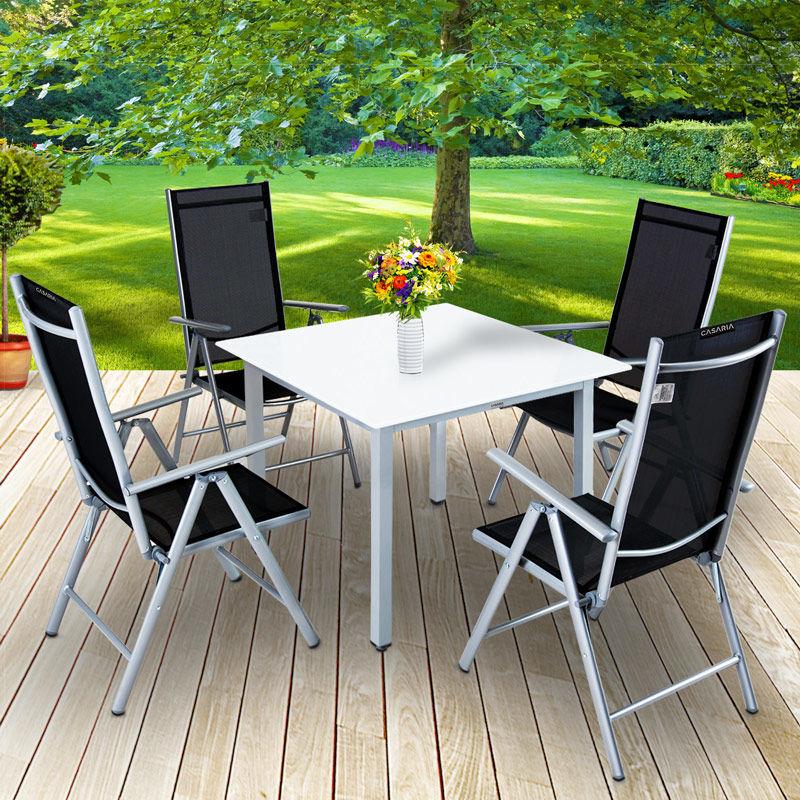 Salon de jardin aluminium argent »Bern« 1 table 4 chaises pliantes plateau  en verre dépoli dossier réglable 7 positions ensemble meubles de jardin ...