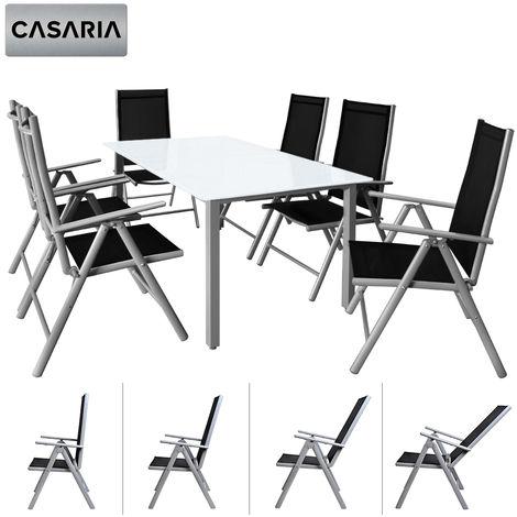 Salon de jardin aluminium argent »Bern« 1 table 6 chaises pliantes plateau  de table en verre dépoli dossier réglable 7 positions ensemble meubles de  ...