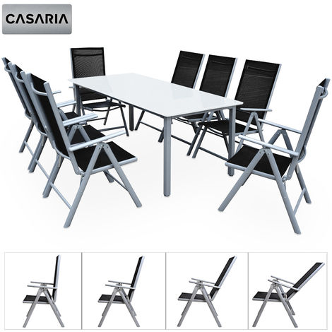 Salon de jardin aluminium argent »Bern« 1 table 8 chaises pliantes ...