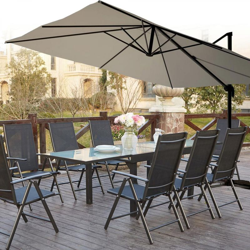 Salon de jardin aluminium Brescia 8 + Parasol déporté Cesare blanc 4x3 m