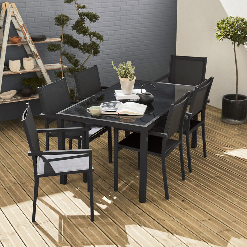 Salon de jardin aluminium Capua table 150cm, 6 fauteuils en textilène gris  et alu anthracite