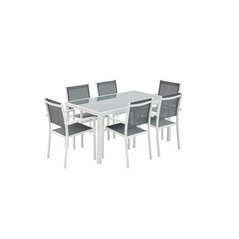 Beau Salon De Jardin Aluminium Capua Table 150cm, 6 Fauteuils En Textilène Gris  Et Alu Blanc