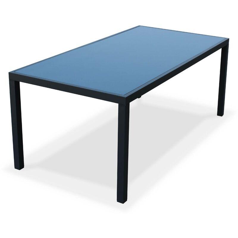 alu jardin Salon gris de textilène et anthracite aluminium en 180cm8 Capua fauteuils table 8ywNnOvm0