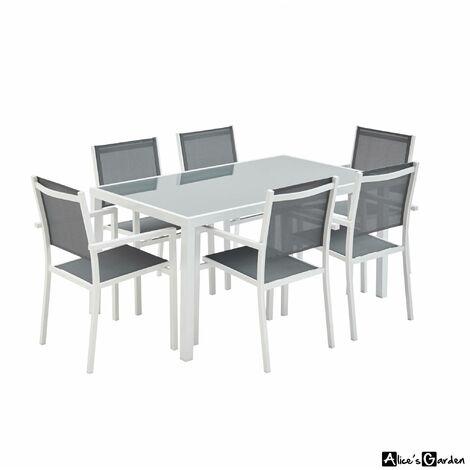Salon de jardin aluminium Capua table 180cm, 8 fauteuils en ...