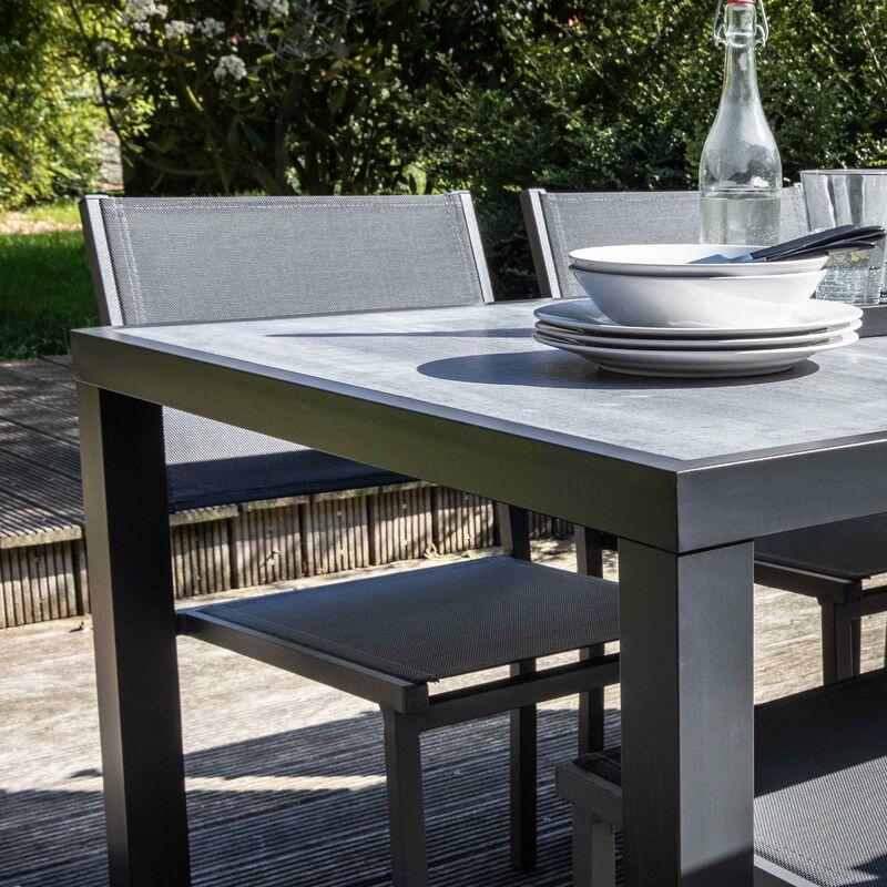 Salon de jardin aluminium et céramique, 1 table, 6 chaises, 2 fauteuils -  Gris