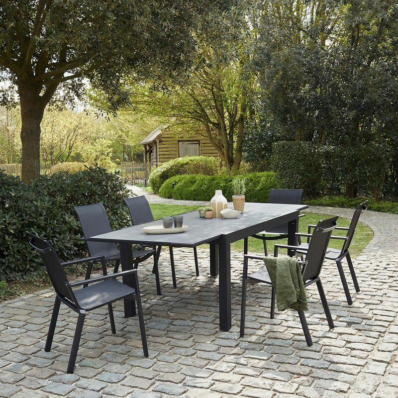 Salon de jardin extensible aluminium noir et textilène gris 6/10 places - Noir