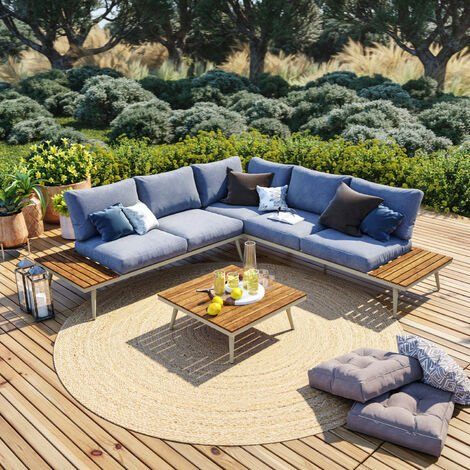 Salon de jardin angle en aluminium -design scandinave - BAHIA - Gris