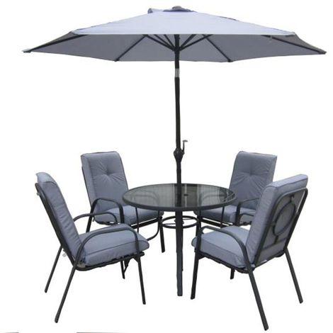 Salon de jardin avec 1 table ronde + 4 chaises + 1 parasol couleur gris