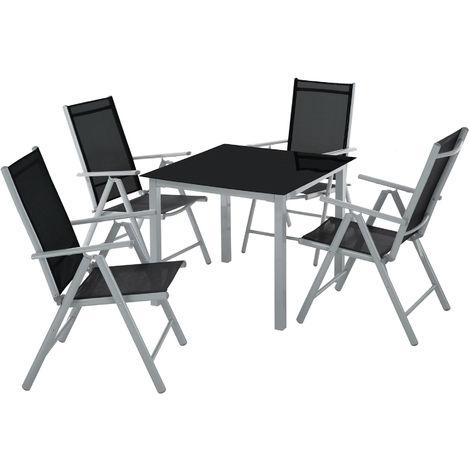 Salon de Jardin avec 4 Chaises Pliantes et 1 Table en Verre
