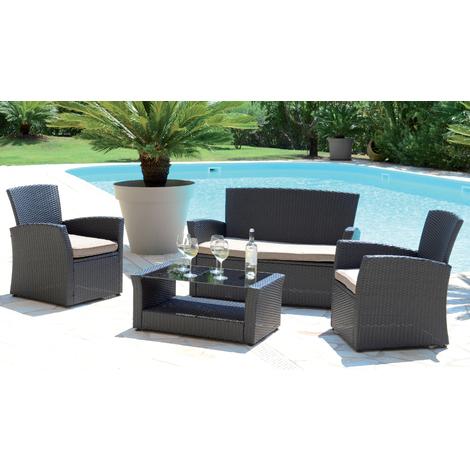 Salon de jardin avec 4 places en aluminium coloris taupe -PEGANE-
