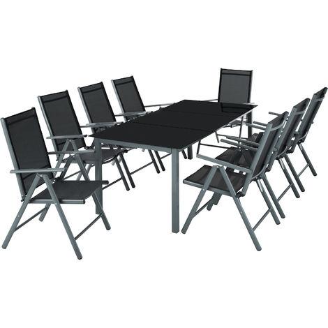Salon de Jardin avec 8 Chaises Pliantes et 1 Table en Verre et en ...
