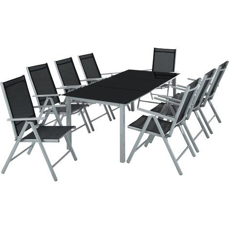 Salon de Jardin avec 8 Chaises Pliantes et 1 Table en Verre