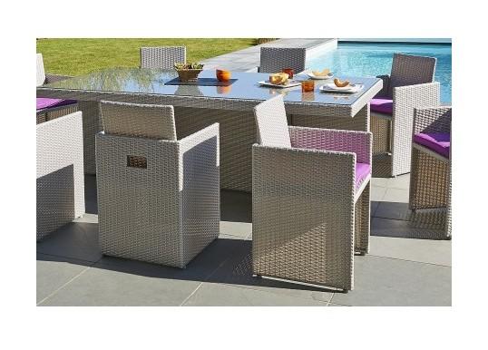 Salon de Jardin avec 8 fauteuils encastrables et housse de protection