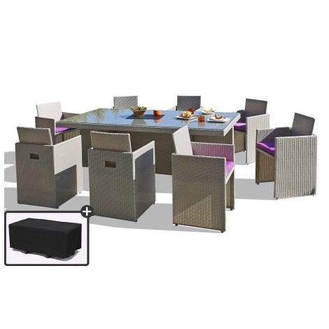Salon de Jardin avec 8 fauteuils encastrables et housse de ...