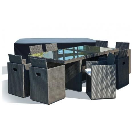 Salon de jardin avec 8 fauteuils encastrables noirs et housse de ...