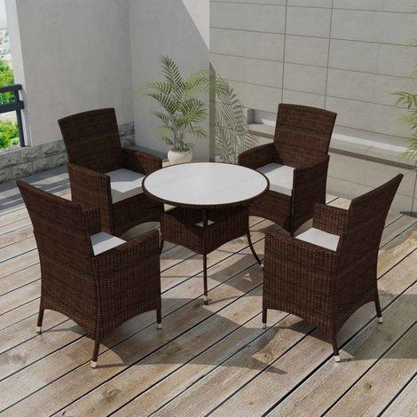 Salon de jardin avec coussins 5 pcs Resine tressee Marron