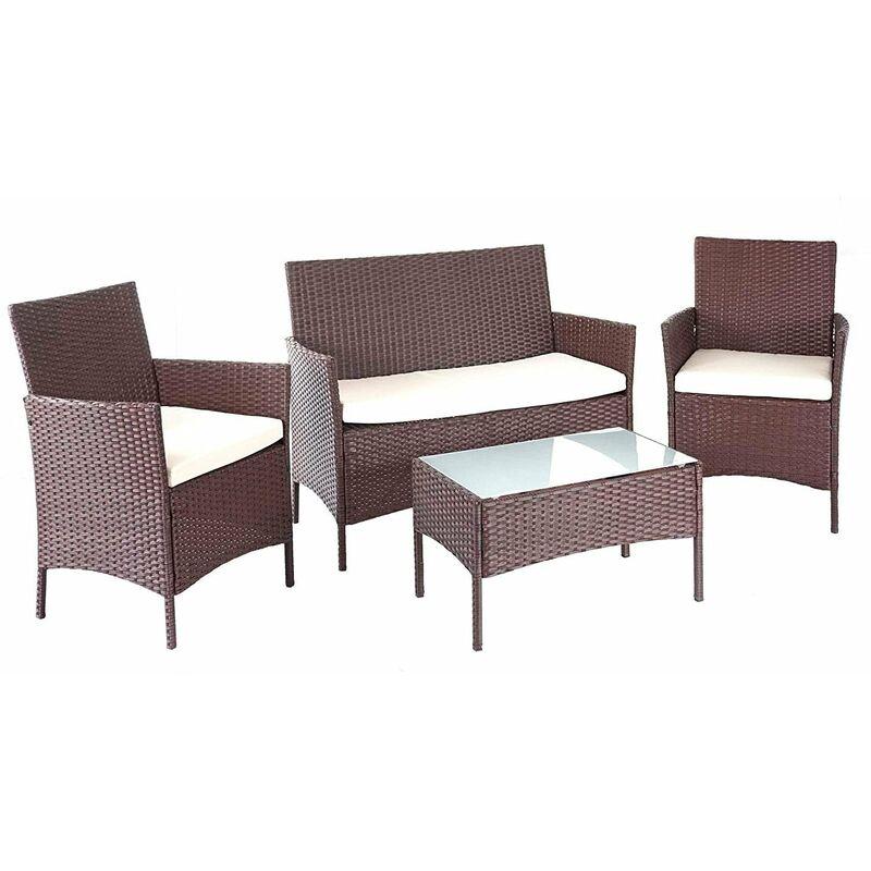Salon de jardin avec fauteuils banc et table en poly-rotin marron et coussin crème - marron