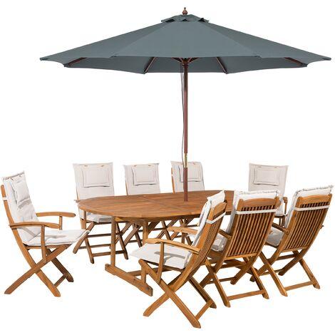 Salon de jardin avec parasol et coussin beige Maui