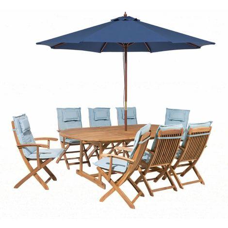 Salon de jardin avec parasol et coussin bleu clair Maui