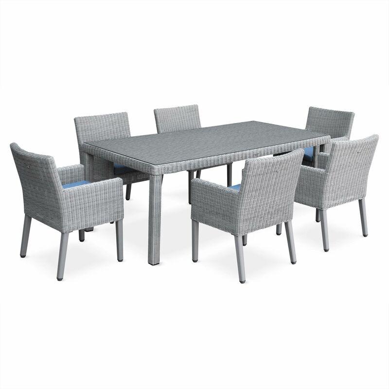 Salon de jardin avec sa table en résine ronde fine 6 places, 1 table et 6  fauteuils