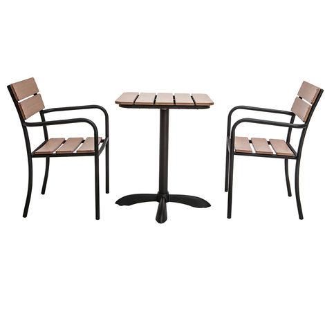 Salon de jardin avec table bistrot et 2 chaises noir et bois pub 45285 - Salon noir et bois ...