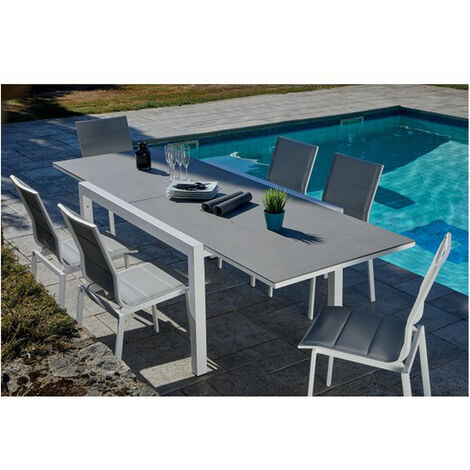 Salon de jardin avec table extensible Gris et Blanc 146/266 x 100 x 75 cm