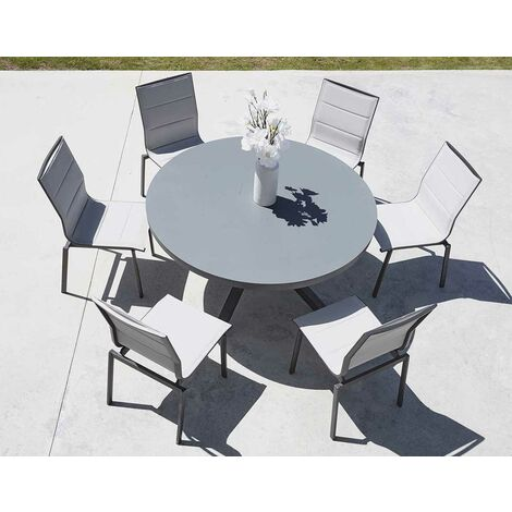Salon De Jardin Avec Table Ronde Anthracite D 140 X 74 Cm
