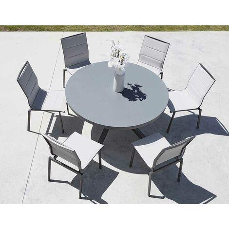 Salon de Jardin avec Table Ronde Anthracite D 140 x 74 cm - Anthracite