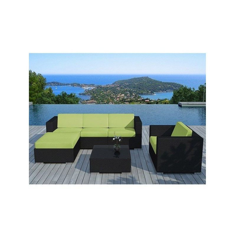 Salon de jardin BALI en résine tressé noire - Couleur coussin: Vert