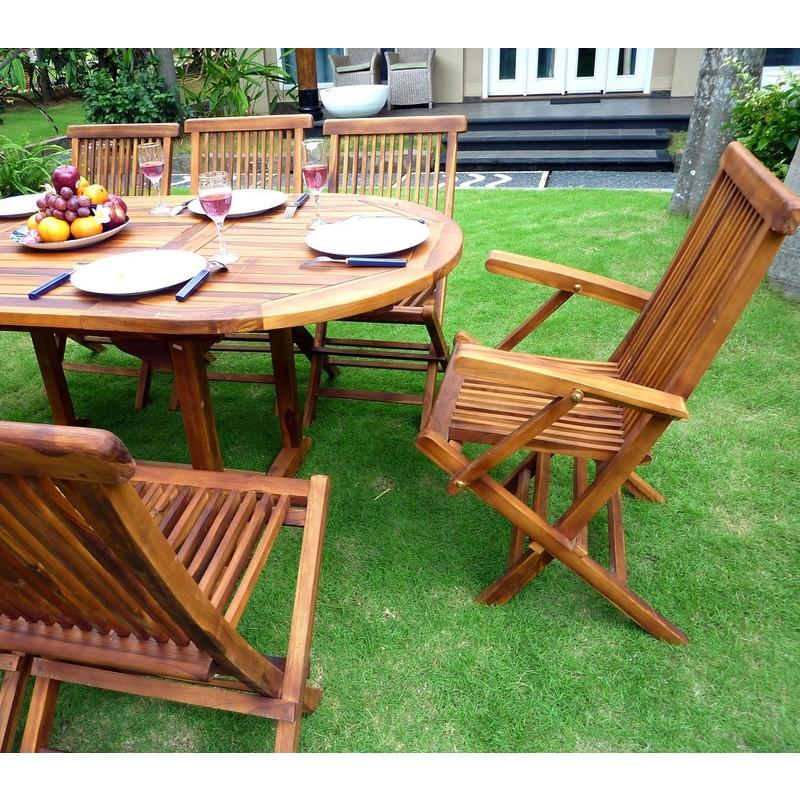 salon de jardin Bali en teck huilé - 8 places