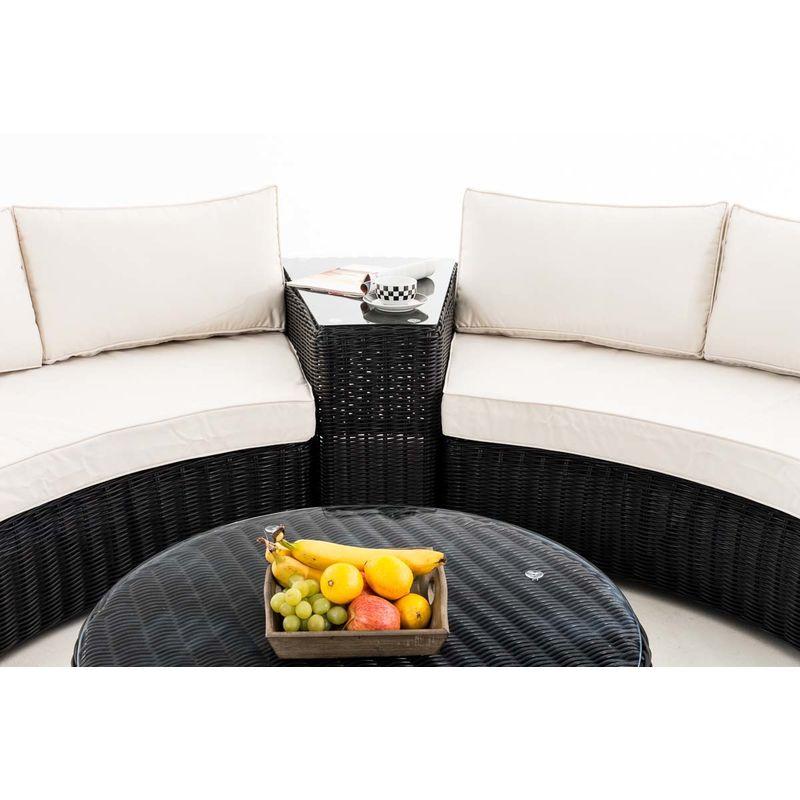 Salon de jardin Barbados rond/noir Blanc beige