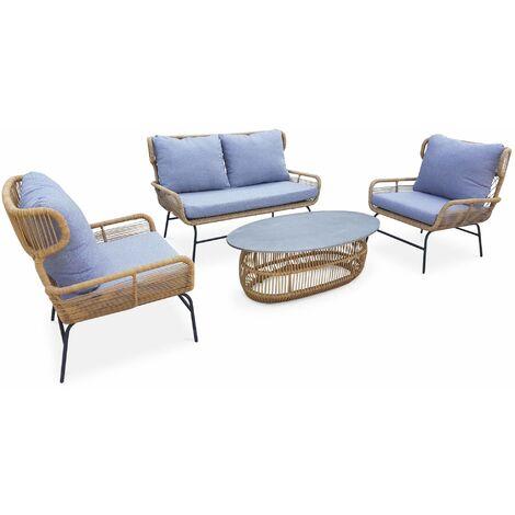 Salon de jardin bas 4 places BALI - résine tressée effet rotin, coussins gris clair chiné