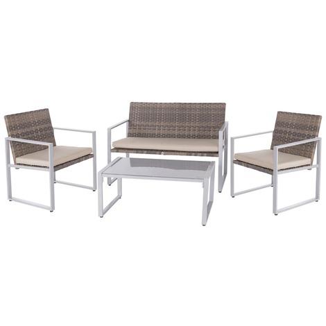 Salon de jardin bas aluminium - Montse - 4 places - Marron clair - 82851