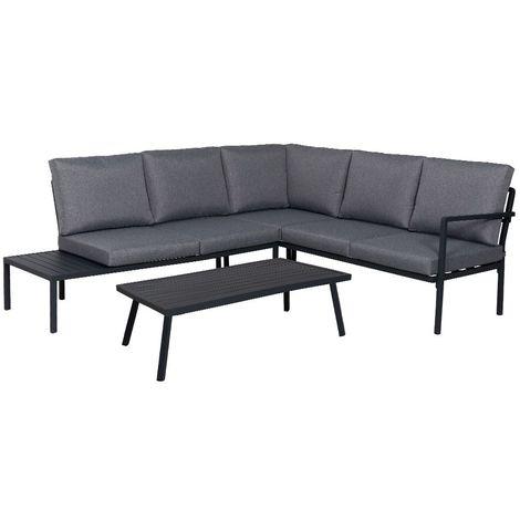Salon de jardin bas en aluminium gris foncé - 5 places