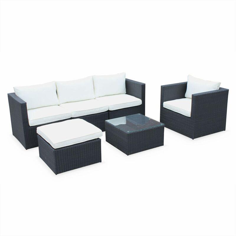 Salon de jardin table en résine tressée 5 places Benito canapé fauteuil Noir / Ecru