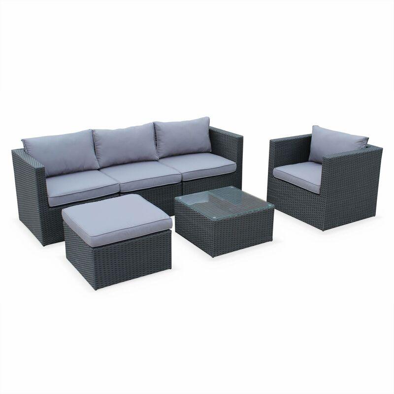 Salon de jardin table en résine tressée 5 places Benito canapé fauteuil Noir / Gris
