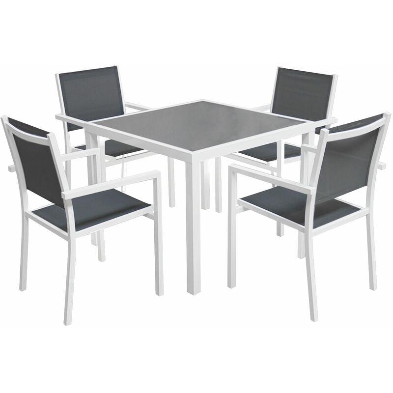 Salon de jardin BERGAMO en textilène gris 4 places - aluminium blanc - Blanc