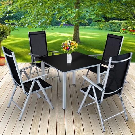 Salon de jardin Bern 4 et 1 Gris clair Ensemble table et chaises ...