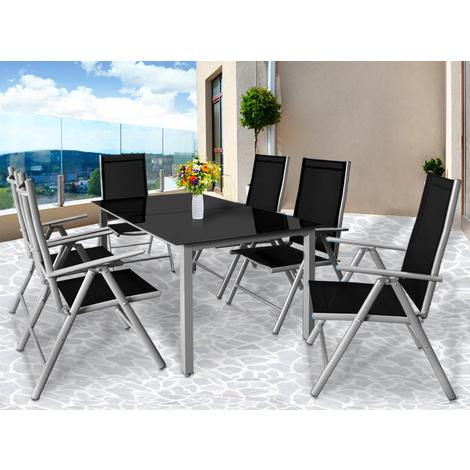Salon de jardin Bern 6 et 1 Gris clair Ensemble table et ...