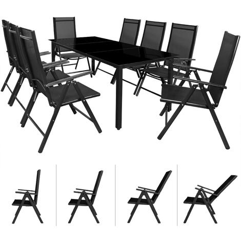 Salon de jardin Bern 8 et 1 Anthracite Ensemble table et chaises ...