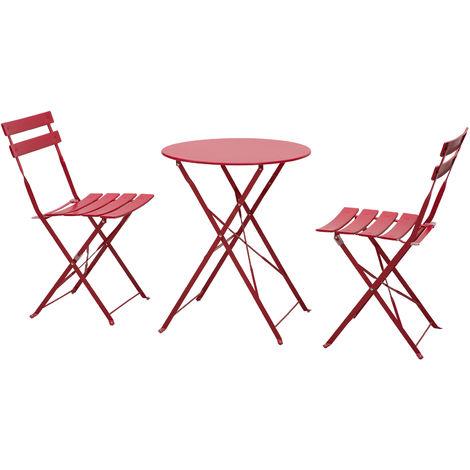 Salon de jardin bistro pliable - table ronde Ø 60 cm avec 2 chaises pliantes - acier thermolaqué rouge