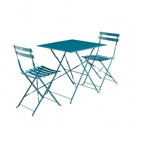 Salon de jardin bistrot pliable Emilia carré bleu canard, table ...