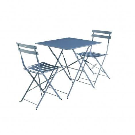 Salon de jardin bistrot pliable Emilia carré bleu grisé avec deux ...