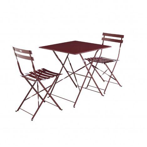 salon de jardin bistrot pliable emilia carr bordeaux. Black Bedroom Furniture Sets. Home Design Ideas
