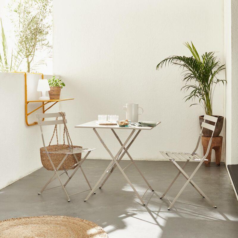 Salon de jardin bistrot pliable Emilia carré gris taupe avec deux ...
