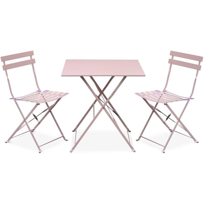 Salon de jardin bistrot pliable Emilia carré rose pale, avec deux chaises  pliantes, acier thermolaqué