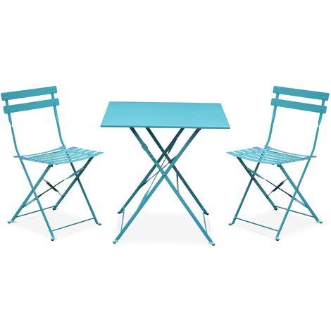 Salon de jardin bistrot pliable Emilia carré turquoise avec ...