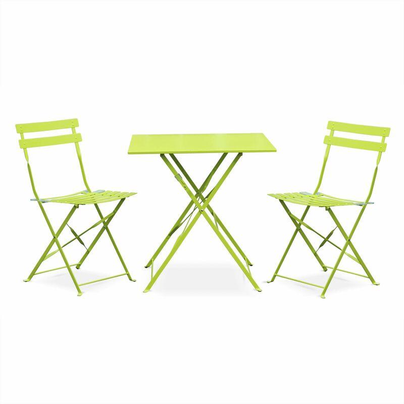 Salon de jardin bistrot pliable Emilia carré vert anis avec deux chaises  pliantes, acier thermolaqué