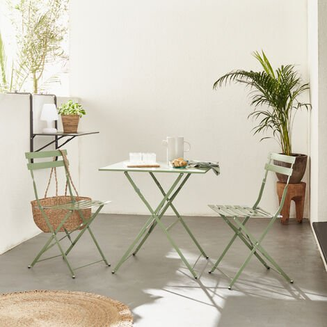 Salon de jardin bistrot pliable Emilia carré vert de gris ...